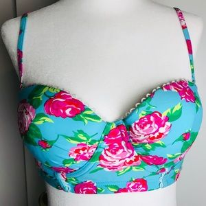 Betsey Johnson Blue Pink Floral Bikini Top Sz. M